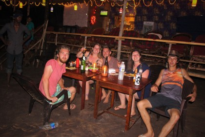 Friends in beach shack, Anjuna beach, Goa