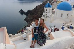 Blue roofs and Cliffs of Oia, Santorini, Greece